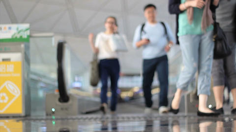 People Stepping Off People Mover At Airport Stock Video Footage