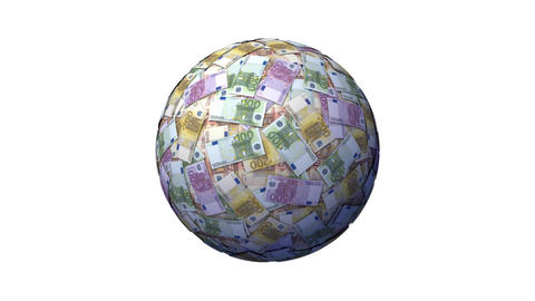 Money Ball With Euro Notes Animation