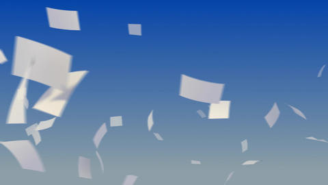 Flying Papers on Sky Animation