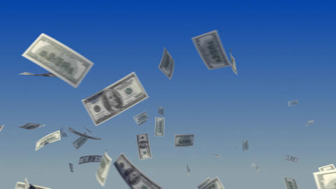 Flying Dollars On Sky stock footage