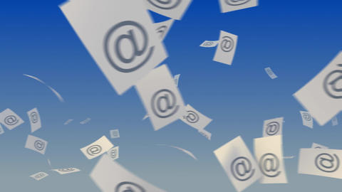 E-Mails Flying on Sky Stock Video Footage