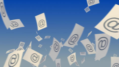 E-Mails Flying on Sky Animation