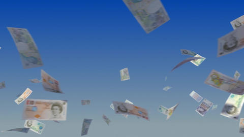 Flying British Pound notes on sky Stock Video Footage