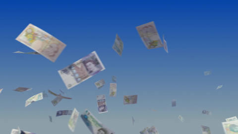 Flying British Pound notes on sky Animation