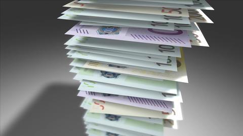 Huge stack of Euro bills Stock Video Footage