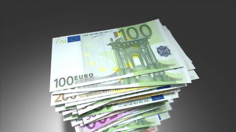 Huge stack of Euro bills Animation