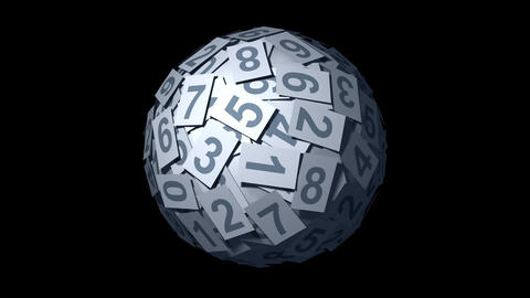 Huge ball made of papers with numbers Stock Video Footage