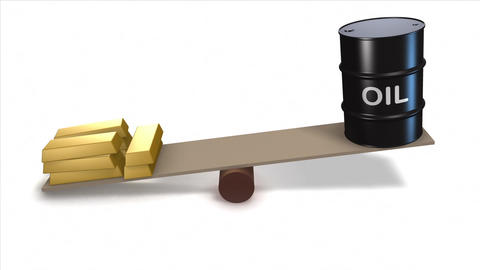 Oil barrel and gold ingots on seesaw. Loops Animation