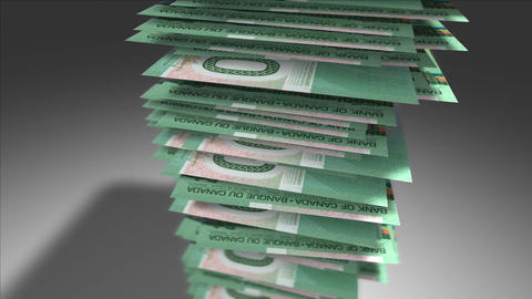 Huge stack of 20 Canadian Dollar bills Stock Video Footage