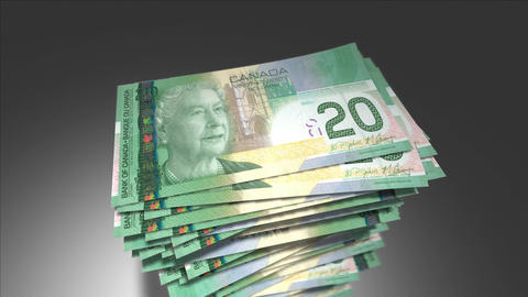 Huge stack of 20 Canadian Dollar bills Animation