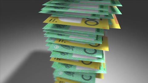 Huge stack of Australian Dollar bills Stock Video Footage