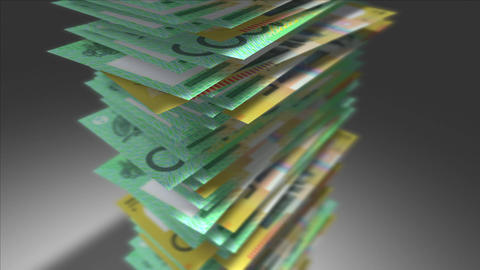 Huge stack of Australian Dollar bills Stock Video Footage