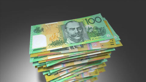 Huge stack of Australian Dollar bills Animation