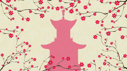 Cherry Blossoming Pagoda 2 Stock Video Footage