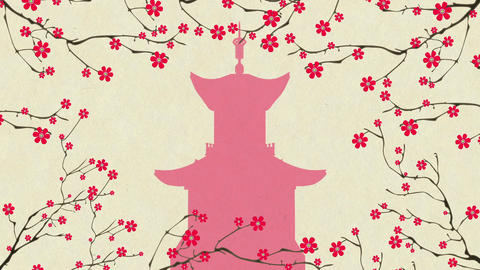 Cherry Blossoming Pagoda 2 Animation