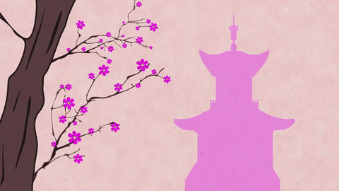 Cherry Blossoming Pagoda 6 Stock Video Footage