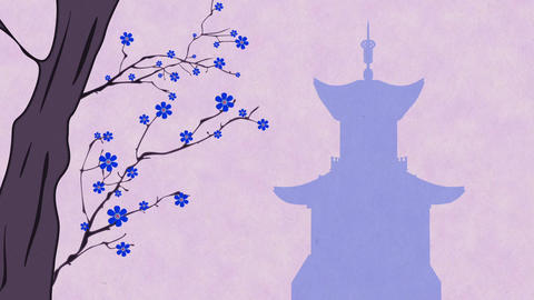 Cherry Blossoming Pagoda 10 Stock Video Footage