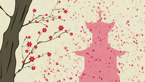 Cherry Blossoming Pagoda 12 Stock Video Footage