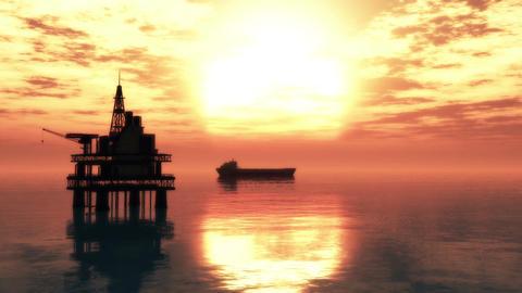 Oil Platform Tanker 2 Stock Video Footage