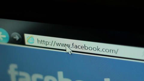 Facebook URL Typing, Close Stock Video Footage
