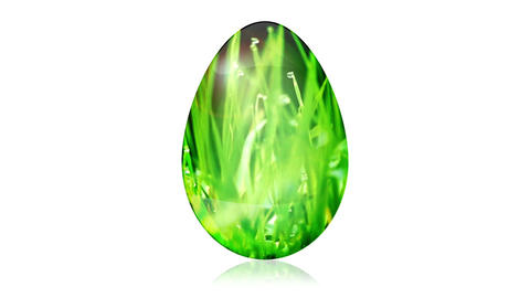 Glass Easter Egg with Grass Animation