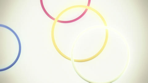 Falling, Bouncing Colorful Rings in Slow Motion Loop Animation
