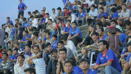 Supporters waiting start international football match,Phnom Penh,Cambodia Footage