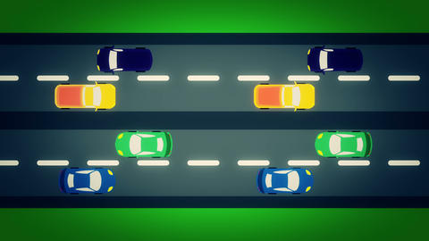 Shape Cars passing by top view, road street traffic Animation