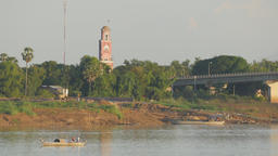 Old french lighthouse at Mekong river,Kampong Cham,Cambodia Footage