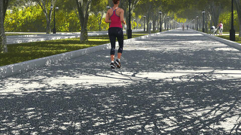 Young sports woman jogging in the park Footage