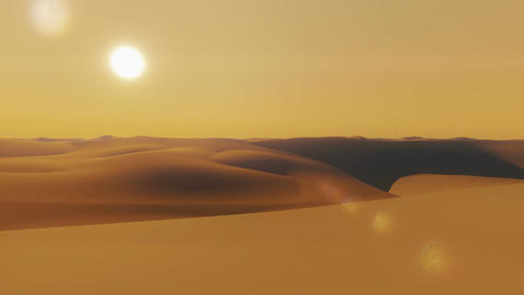 Flight over sandy dunes at sunset Footage