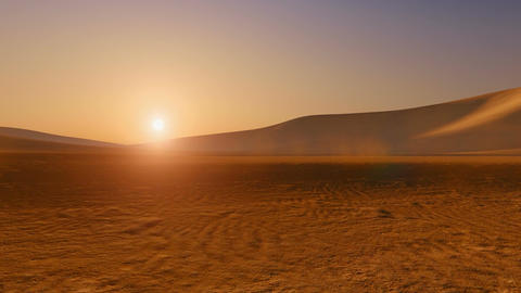 Movement through sandy desert at sunset Footage