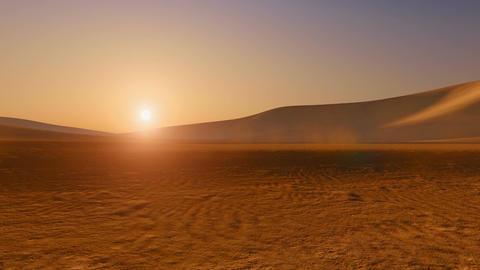 Movement through sandy desert at sunset Live Action
