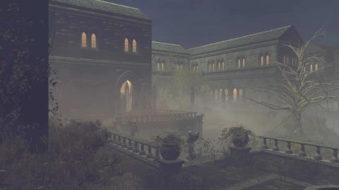 Abandoned medieval mansion at misty night 4K Footage