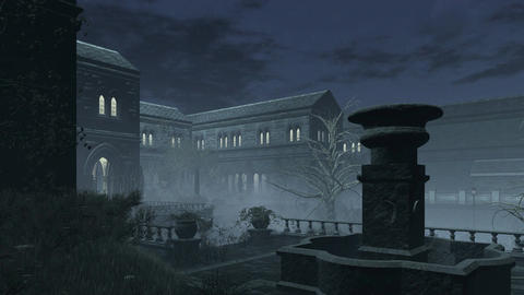 Abandoned old mansion at misty night 4K Footage