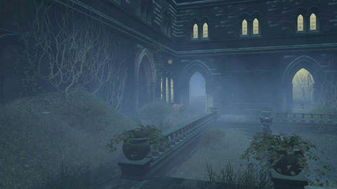 Overgrown courtyard old mansion at misty night 4K ビデオ