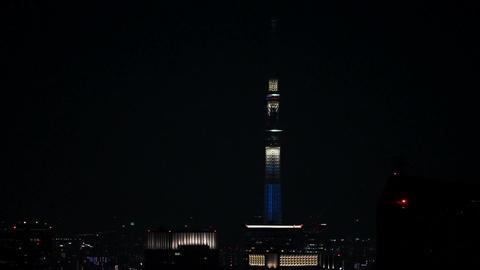 Tokyo Sky Tree (general-purpose night scene lights up) Live Action