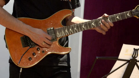 Cuenca, Ecuador - 2019-09-29- Rock Band Practice Session - Electric Guitar front Live Action