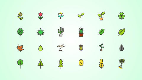 Plants, Trees Icons Pack After Effectsテンプレート