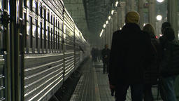 Moscow. Train station at night. The train departs Footage