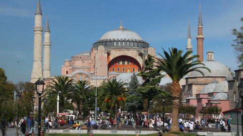 Hagia Sophia Church Museum a sunny day and peoples. Istanbul's popular touristic destination of Live Action