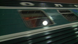 Moscow. Train station at night. The train departs from the station. Rain Footage