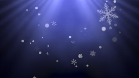 White snowflakes, stars and abstract bokeh particles falling. Happy New Year and Merry Christmas Animation
