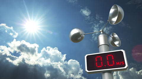 Anemometer displays 10 meters per second wind speed. Weather forecast related 3D Live Action