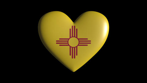 New Mexico heart pulsate isolate on transparent background loop, alpha channel Animation