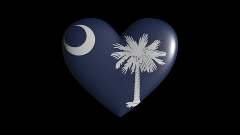 South Carolina heart pulsate isolate on transparent background loop, alpha Animation