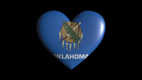 Oklahoma heart pulsate isolate on transparent background loop, alpha channel Animation