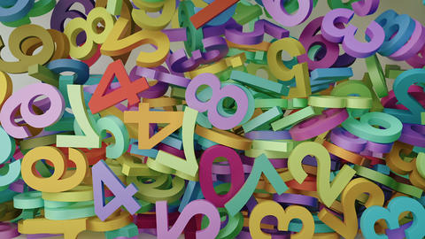 Bouncing falling colorful random 3d numbers filling the screen Animation