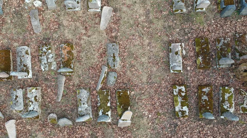 historical karaim and jewish cemetery in Birzai, Lithuania, aerial Footage