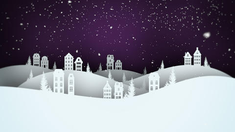 Animated closeup night village and snowing landscape Animation